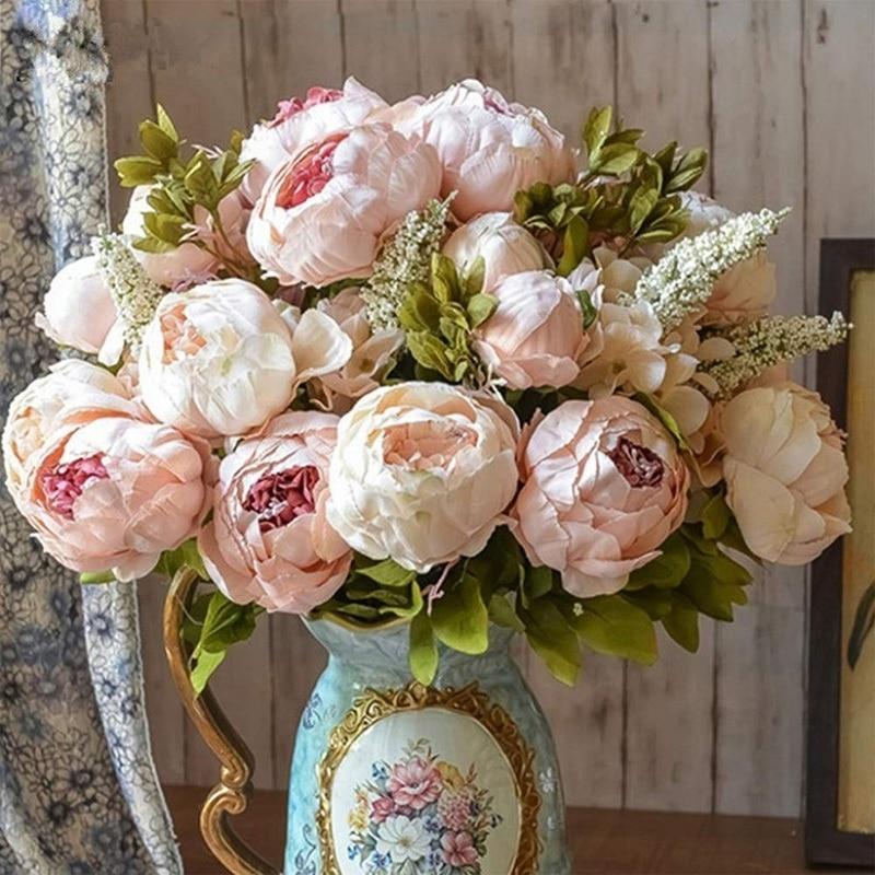 1Bunch European Artificial Peony Flowers Silk Fake Flowers Wedding Party Home Decoration Flower Bouquet Wreath DIY Scrapbooking