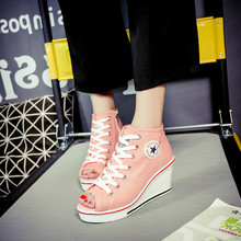 2019 new pumps high heels wedges high-top casual shoes woman peep toe lace up canvas ankle boots  WXX026 цены онлайн