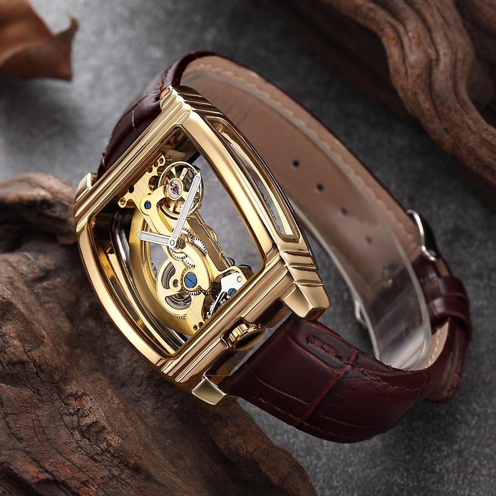 Transparent Herren Uhren Mechanische Automatische Armbanduhr Lederband Top Marke Steampunk Selbst Aufzug Clock Männlich montre homme-in Mechanische Uhren aus Uhren bei  Gruppe 1