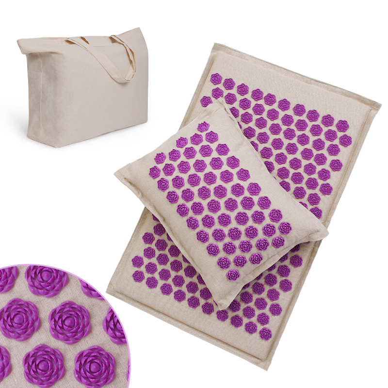 Procircle Acupressure Mat Pillow Set For Massage Linen Cotton Acupuncture Mat With Back Neck Bag Pain Relief Better Deeper Sleep