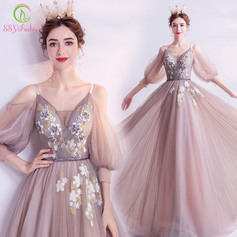 SSYFashion New Banquet Elegant Long Evening Dress V-neck Half Sleeve Lace Flower Beading Floor-length Formal Party Gown Vestidos