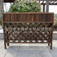 Balcony Courtyard Wood Partition Carbonated Anticorrosion Solid Wood Grid Planter Outdoor Gardening Supplies Planters Pot Holder