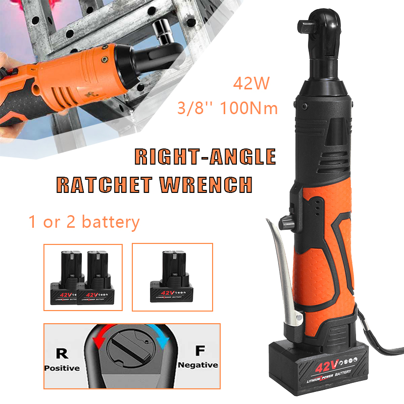42V Electric Wrench Angle Drill Screwdriver 3/8'' Cordless Ratchet Wrench Scaffolding 100NM With 1/2 Lithium-Ion Battery