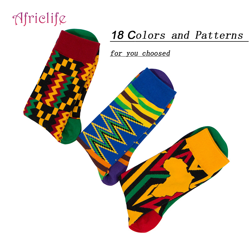 Christmas Gifts Super Stretch 17 Colors Socks Afircan Patterns Warm Socks Cotton Free Size Leisure Neutral Socks WYB478