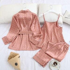 Image 3 - Fiklyc roupa interior de três peças feminino dot cetim pijamas define manga longa outono calças compridas pijamas conjuntos feminino sexy nightwear