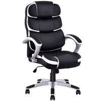 Costway Ergonomic PU หนังกลับ Executive โต๊ะคอมพิวเตอร์ Task สำนักงานเก้าอี้สีดำ