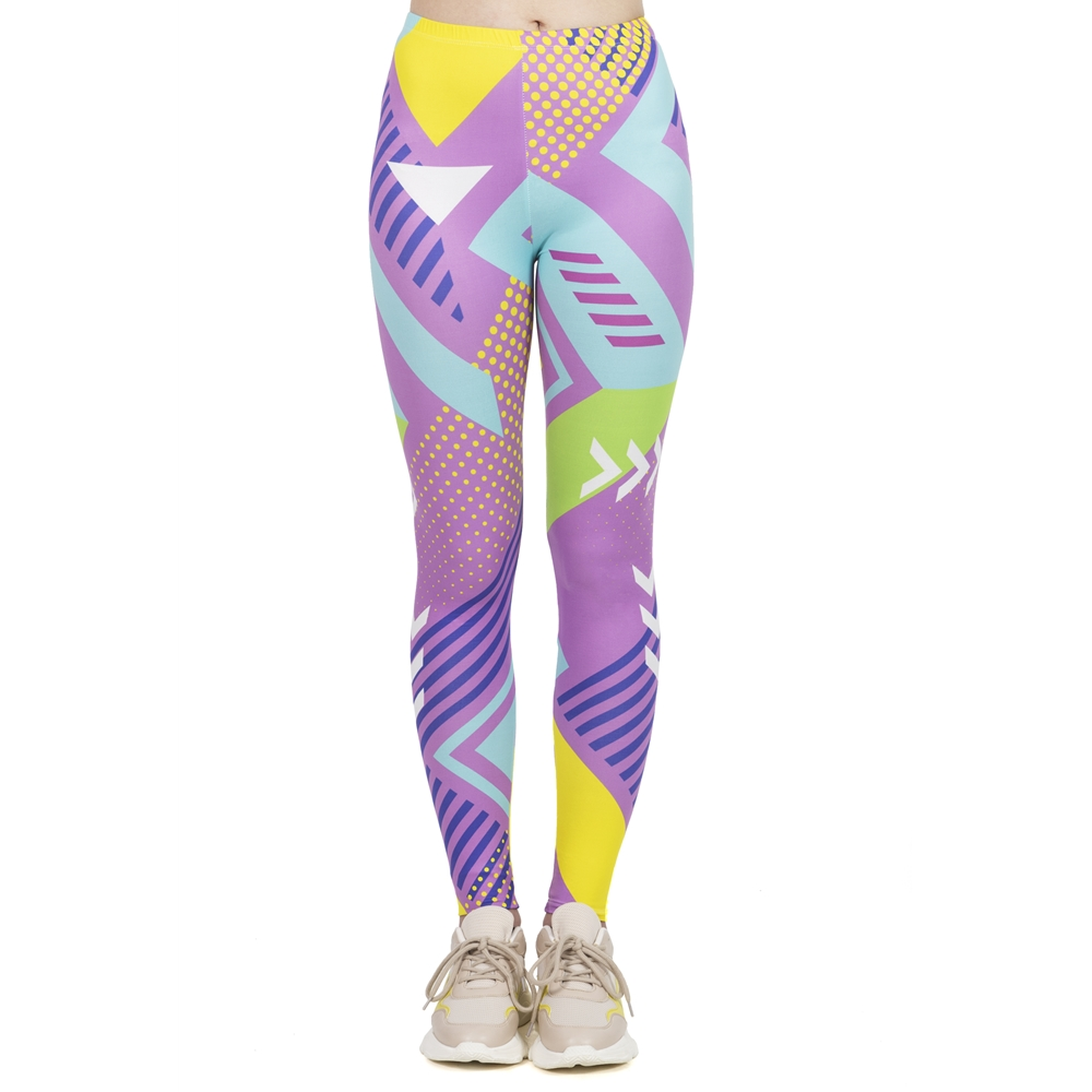 Women Fashion Leggings High Elasticity Legins Workout Jogging Pants Fluorescent Neo Geo Printing Sport Leggins