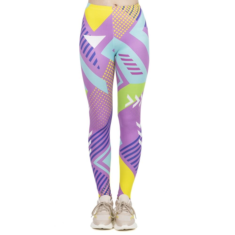 Women Fashion Leggings High Elasticity Legins Workout Jogging Pants Fluorescent Neo Geo Printing Sport Leggins
