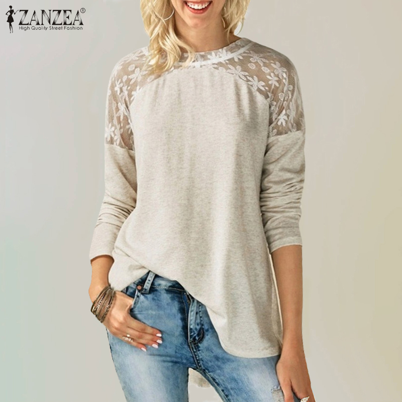 ZANZEA 2020 Autumn Lace Pacthwork Blouse Women Long Sleeve Lace Up Shirts Casual Loose Work Blusas Plus Size Tunic Top Feminina7