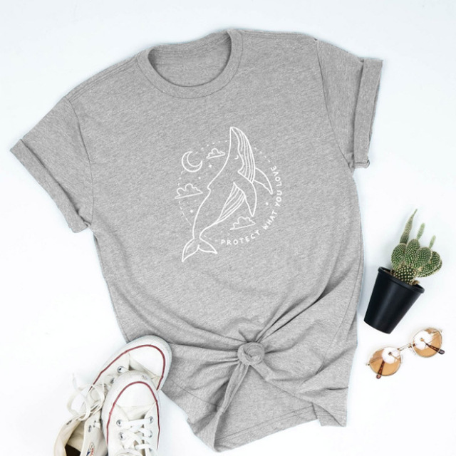 Protect What You Love Women Shirts Protect The Ocean Clean Tshirt Save Whales Slogan T-shirt Streetwear Cotton Tops Dropshipping