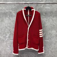 2021 mode Marke Pullover Männer Frauen Schlank Drehen Unten Kragen Strickjacken Kleidung Gestreiften Wolle Rot Dicke Winter Mantel Lässig