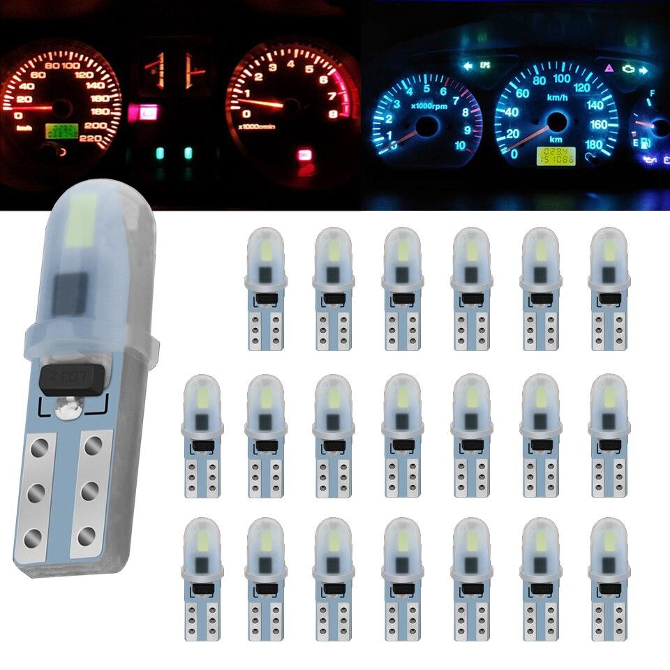 20X T5 Led W3W W1.2W 7 цветов салона светильник индикатор приборной панели датчик прибора Клин лампа авто сигнальный светильник лампочка DC12V