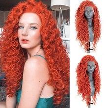 Парик харизма с длинными вьющимися волосами, парики оранжевого и красного цвета, парик из синтетического кружева спереди для чернокожих же...