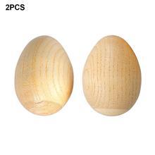 2 Pirces Natural Wood Egg Shaker Musical Egg Shaker Set Easter Eggs Maracas Eggs Musical Plastic For Easter Party Favours Party