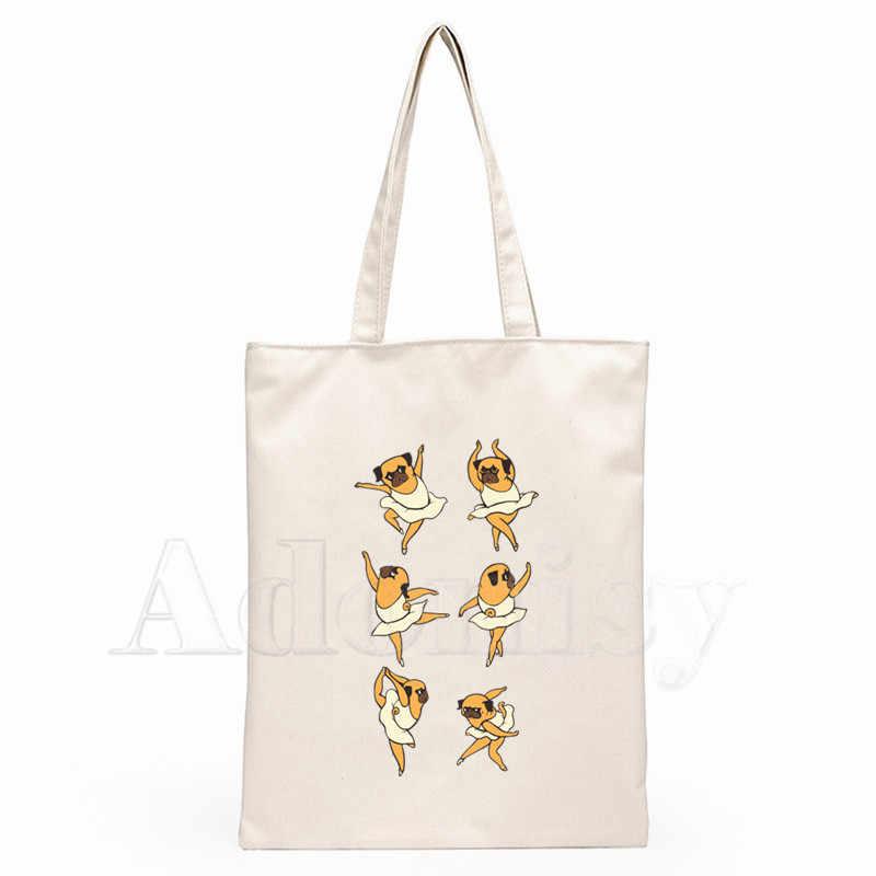 Carlin chien dames sacs à main tissu toile sac fourre-tout Shopping voyage femmes Eco réutilisable épaule Shopper sacs Bolsas De Tela