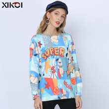 XIKOI SUPER WELPEN Druck Pullover Frauen Winter Mode Pullover Strick Jumper Oansatz Sky Blau Pullover Neue Strickwaren Top Sueter(China)