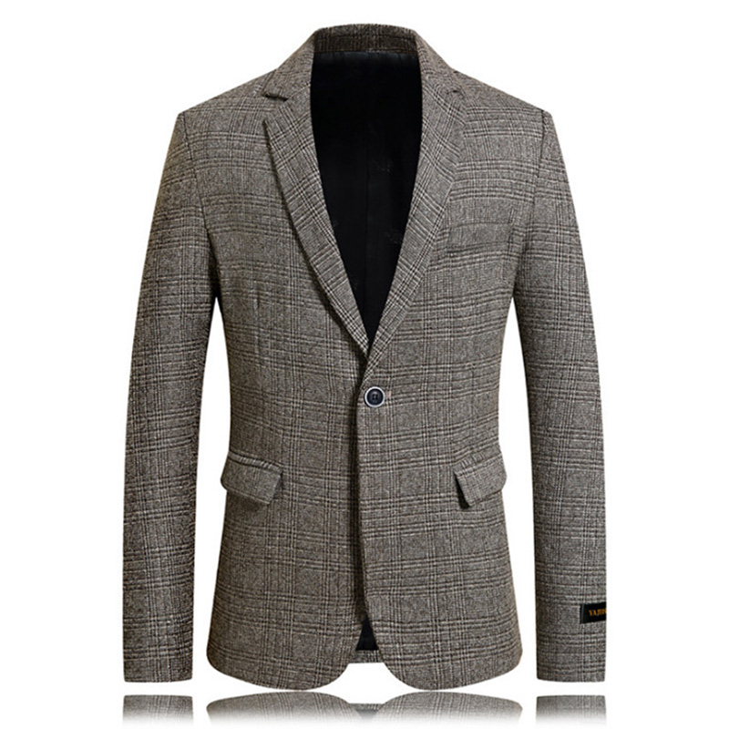 Men's Slim Fit Blazer Casual Single Button Mens Suit Jackets Business Plaid Jackets Blazers,terno Masculino