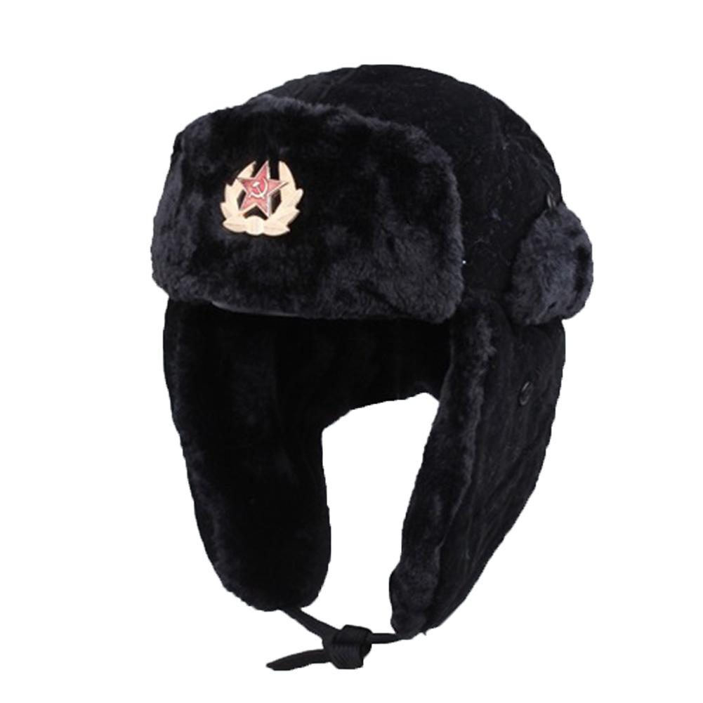 Soviet Army Military Badge Russia Ushanka Bomber Hats PU Leather Trapper trooper