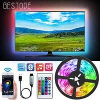 Bluetooth tira de luz LED USB de SMD 5050 DC 5V USB luces RGB lámpara LED Flexible cinta RGB TV Escritorio de adaptador de cinta