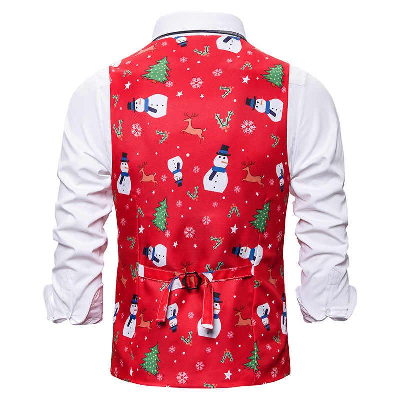 赤クリスマスベスト男性 2019 ブランド V ネックスリムフィットベストチョッキ男性クリスマスパーティーステージ歌手ベスト男性ジレ衣装オム XXL