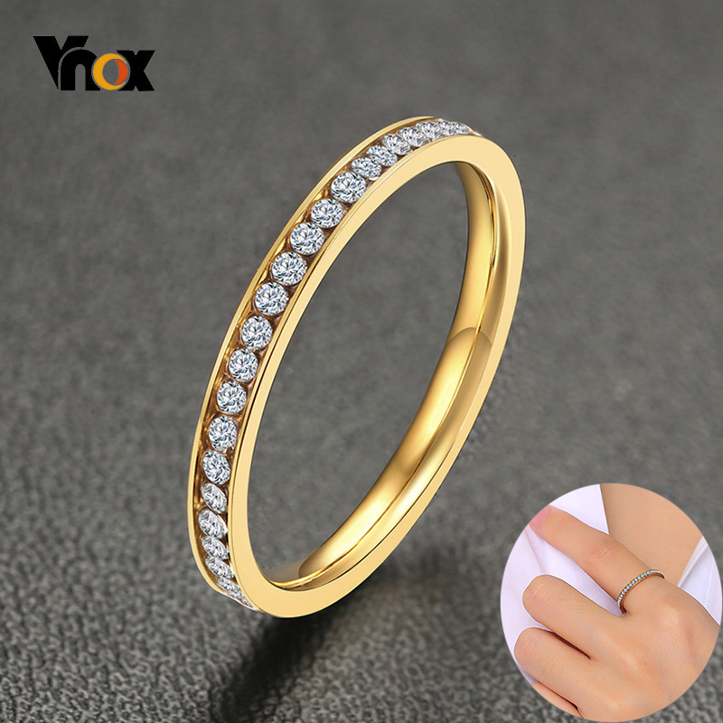 Vnox 2mm Bling CZ pierres anneau pour femmes dame ton or acier inoxydable brillant cristal doigt bande bijoux élégants