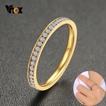 Vnox 2mm Bling CZ Stones Ring for Women Lady Gold Tone Stainless Steel Shinny Crystal Finger Band Elegant Jewelry 1