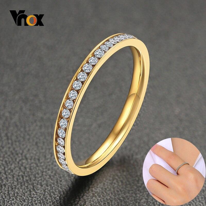 Vnox 2mm Bling CZ taş yüzük kadınlar için altın ton paslanmaz çelik parlak kristal parmak bandı zarif takı