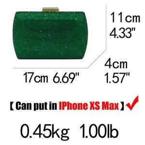 Image 2 - Boutique De FGG Elegant Green Emerald Crystal Women Evening Handbags Metal Hard Case Wedding Party Dinner Diamond Clutch Bag