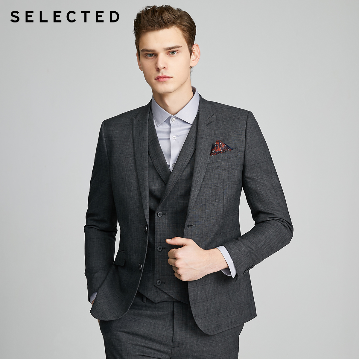 SELECTED Men's Slim Fit Woolen Checked Jacket Business Blazer SIG|42015Y505