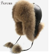 FXFURS 2019 Women's Winter Raccoon Fur Hats with Leather Tops Ear Flaps
