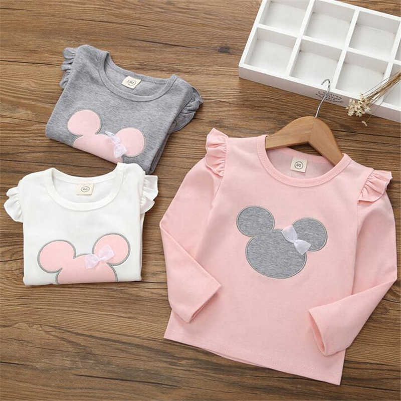 Cartoon Girls Tops Cotton Children's T-shirt Bottoming Shirt Kids Spring Autumn Long Sleeves Girls T-shirt