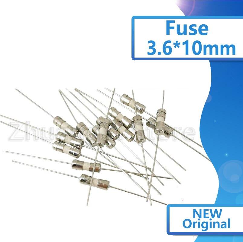 20pcs/lot With Lead T10A 0.5A 1A 2A 3.15A 4A 5A 6.3A 250V Fuse 3.6*10mm Ceramic Fast Break Fuse 3*10