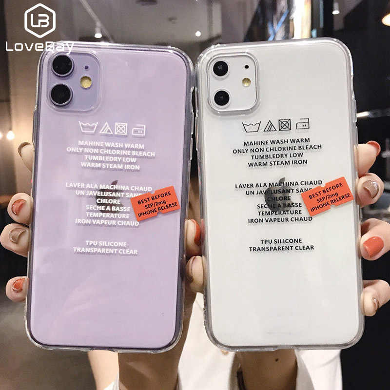 Lovebay Transparent Label Letters Phone Case For iPhone 11 Pro Max  X XS XR Xs Max Soft TPU Clear Cover For iPhone 6 6s 7 8 Plus