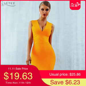 Image 1 - ADYCE Summer Women Bandage Dress Vestidos 2020 Red Orange Tank Sexy Deep V Neck Sleeveless Bodycon Celebrity Runway Party Dress