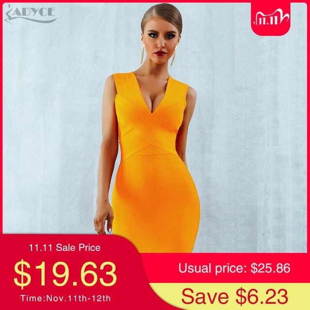 ADYCE Summer Women Bandage Dress Vestidos 2020 Red Orange Tank Sexy Deep V Neck Sleeveless Bodycon Celebrity Runway Party Dress