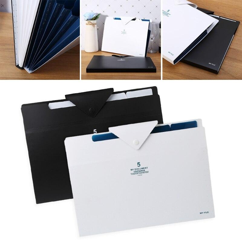 5 Layer Expanding File Folder Organ Bag A4 Organizer Paper Holder Document Stationery File Folder