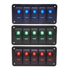 5 Gang Rocker Switch Panel 12V 24V ON/Off Toggle Switch Control Panel LED Light Switch For Boat Auto Car Marine ATV UTV