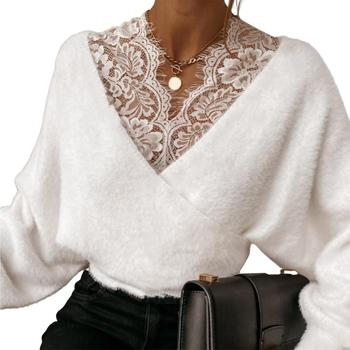 HOT SALES!!!New Arrival Sexy Women Solid Color Lace Patchwork V Neck Long Sleeve Plush Blouse Pullover solid color cold shoulder all match casual women solid color o neck long sleeve cold shoulder holes plus size blouse hot sales