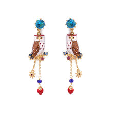 Personalized enamel glaze owl long tassel earrings sapphire 925 silver pin earrings female(China)
