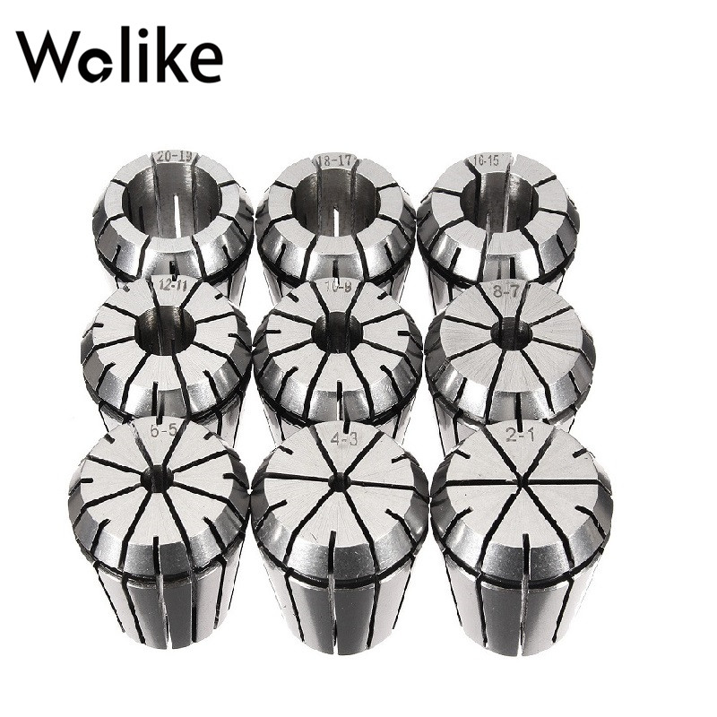 9pcs ER32 2mm To 20mm Spring Collet Set For CNC Workholding Engraving Machine And Milling Lathe Tool 2-20mm