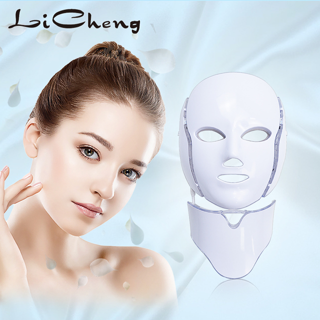 LiCheng LED Facial Mask Beauty Skin Rejuvenation Photon Light 7 Colors Mask with Neck Therapy Wrinkle Acne Tighten Skin Tool