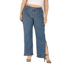 Womens Jeans Casual Loose Large Size Long Pants Blue Denim Wide Leg Trousers Ladies Wild Pant
