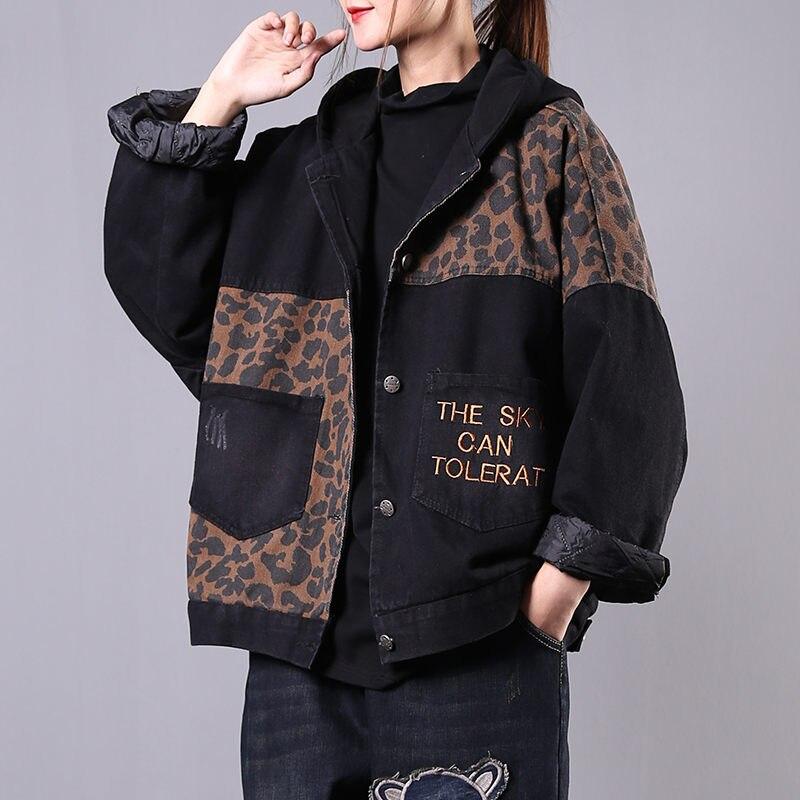 Plus Velvet Denim Jacket Female Hooded 2019 Autumn and Winter New Korean Loose Plus Size Vintage Leopard Short Cotton Coat f2308