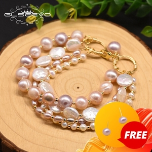 GLSEEVO Natural Fresh Water Pearl Multilayer Charm Bracelet For Women Party Birthday Original Design Jewellery Accesorios GB0189