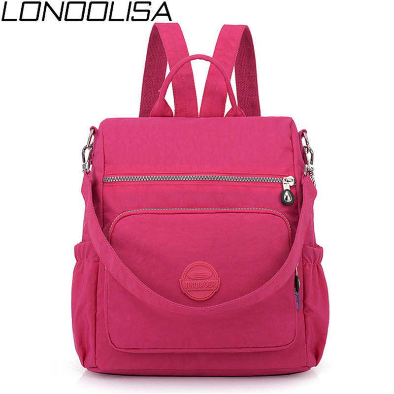 3 in 1 Women Backpack Solid Fashion School Bags For Girls Nylon Waterproof College Students Backpack Shoulder Travel Causal BagBackpacks   -