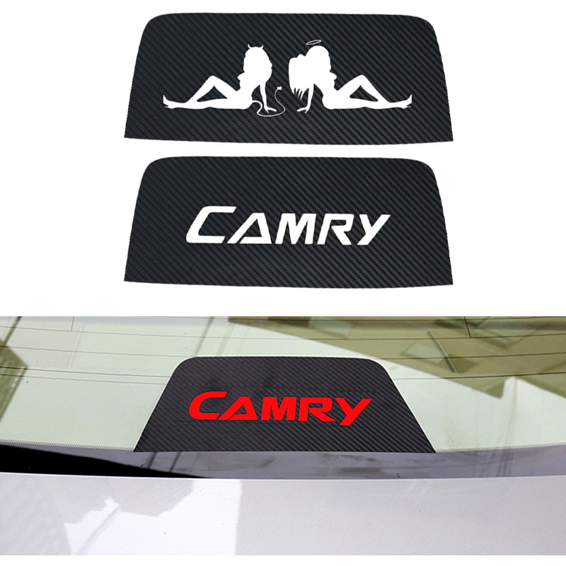 1Pc Car Rear Brake Light Sticker Dedicated Black Carbon Fiber Stickers Car-styling For Toyota Camry Accessories