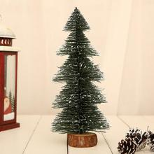 Christmas Tree New Years Mini Small Pine  Desktop Decor Green Wooden Base Decoration Stand