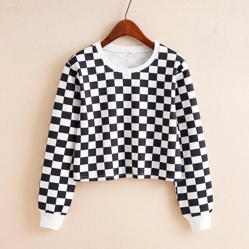 Women Chess Sweatshirt Plaid Crop Top Hoodies Long Sleeve Black White Checkerboard Short Sweatshirt Crop Hoodie Streetwear
