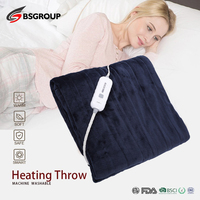 100 120V 50x60'' King Size Flannel&Sherpa Thermal Electric Heating Throw Blanket 110V Winter Warmer Double Bed US Plug