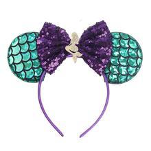 Mermaid Mouse Ears Headband Sequin Hair Bows Hairband DIY Girls Hair Accessories For